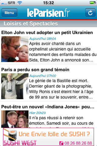 Application iPhone du Parisien.fr