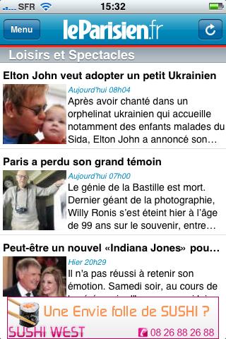 Application iPhone du Parisien.fr