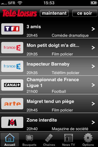 Application iPhone Téléloisir